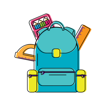 backpack with school supplies icon image vector illustration design