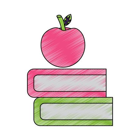 boeken en appel pictogram afbeelding vector illustratie ontwerp