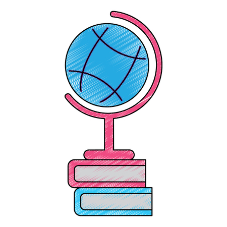 planet earth map globe with books icon image vector illustration design