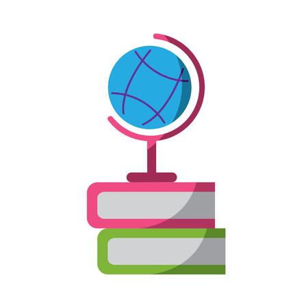 Planetenerdekartenkugel mit Buchikonenbildvektor-Illustrationsdesign Standard-Bild - 90669879