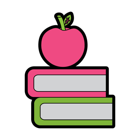 books and apple icon image vector illustration design