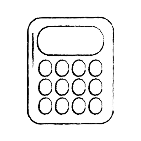 calculator with blank keys icon image vector illustration design  black sketch line Ilustrace