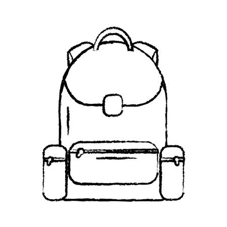 backpack school icon image vector illustration design  black sketch line