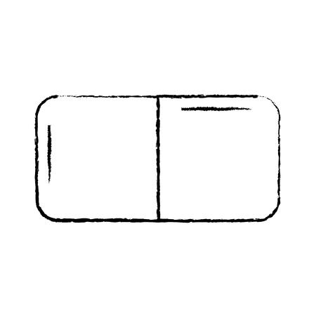 eraser with two sides icon image vector illustration design  black sketch line Illustration
