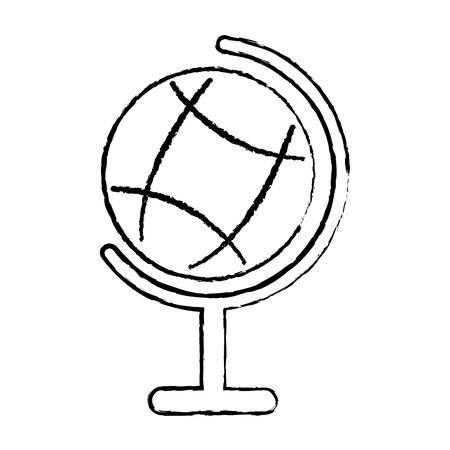 惑星地球地図グローブアイコン画像ベクトルイラストデザイン黒スケッチライン