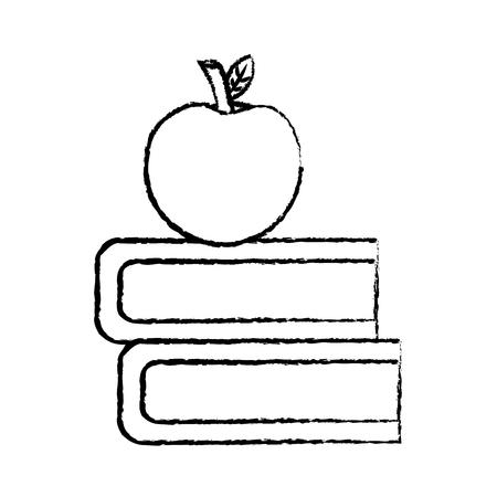books and apple icon image vector illustration design  black sketch line