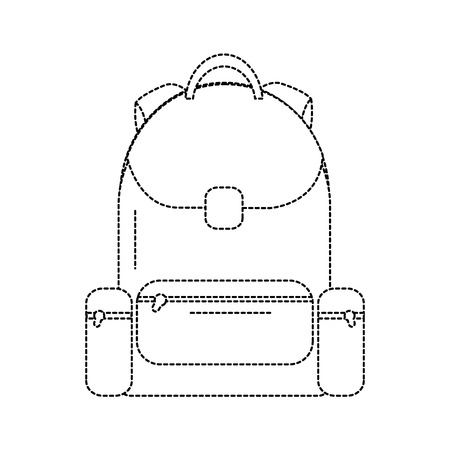 plecak szkoła ikona obraz wektor ilustracja projekt czarna kropkowana linia