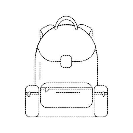 Rucksack Schule Symbol Bild Vektor Illustration Design schwarz gepunktete Linie
