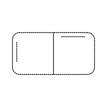 eraser with two sides icon image vector illustration design  black dotted line