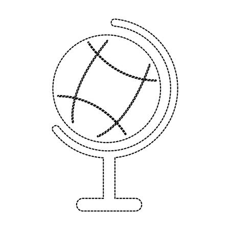 planet earth map globe  icon image vector illustration design  black dotted line Иллюстрация