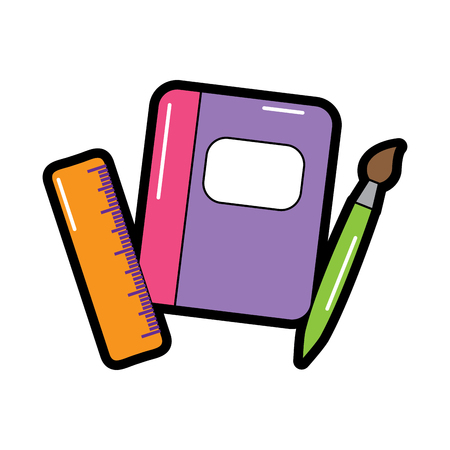 notebook with school supplies icon image vector illustration design
