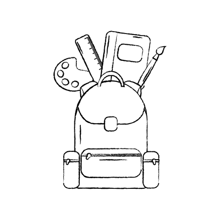 backpack with school supplies icon image vector illustration design  black sketch line