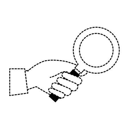 hand with search magnifying glass icon vector illustration design Illustration