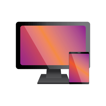 computer monitor with smartphone icon image vector illustration design