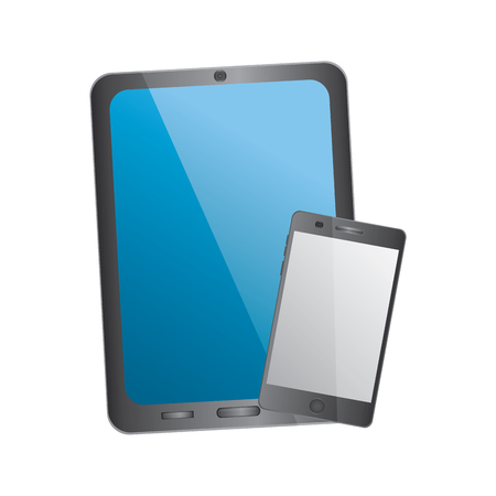 tablet and cellphone with reflective screen device icon image vector illustration design Stock fotó - 90662806
