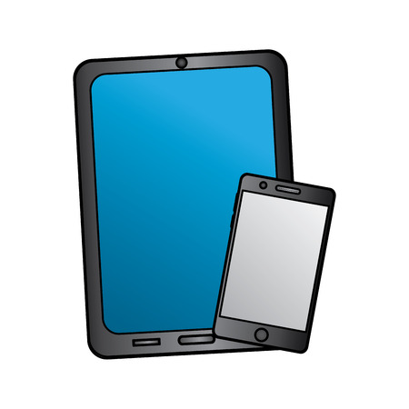 tablet and cellphone with reflective screen device icon image vector illustration design Stock fotó - 90662916