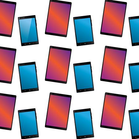 smartphone with glass reflection digital device pattern image vector illustration design  Ilustração