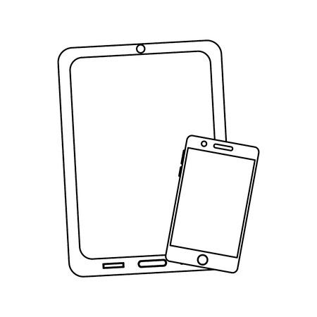 タブレットと携帯電話のデバイスアイコン画像ベクトルイラストデザイン