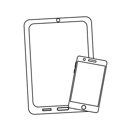 태블릿 및 핸드폰 장치 아이콘 이미지 벡터 일러스트 레이 션 디자인