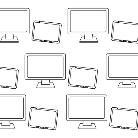 computer monitor and tablet pattern image vector illustration design