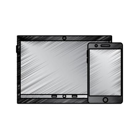 타블렛과 핸드폰 반사 화면 장치 아이콘 이미지 벡터 일러스트 레이 션 디자인 스케치 스타일