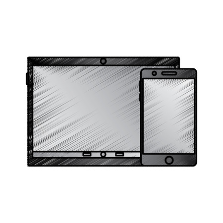 tablet and cellphone with reflective screen device icon image vector illustration design sketch style