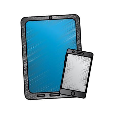反射スクリーンデバイスアイコン画像ベクトルイラストデザインスケッチスタイルとタブレットと携帯電話