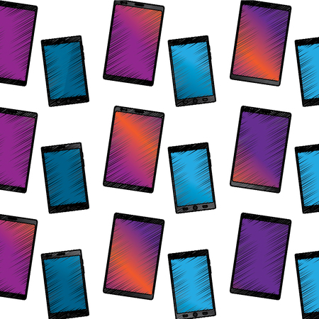 smartphone with glass reflection digital device pattern image vector illustration design  sketch style Ilustração