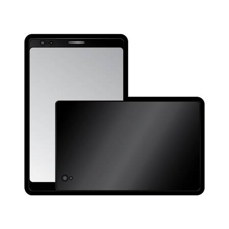 smartphone front and back with glass reflection digital device icon image vector illustration design
