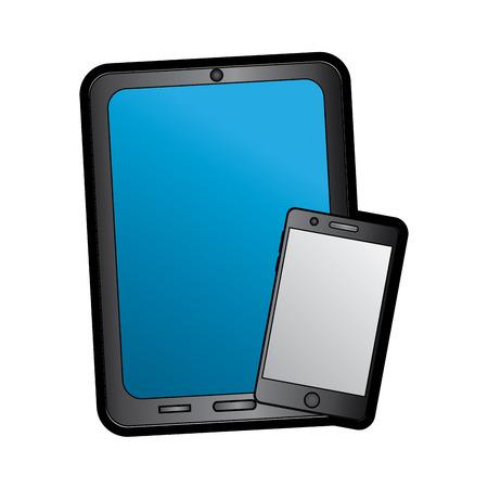 タブレットや携帯電話の反射型スクリーン デバイス アイコン画像ベクトル イラスト デザイン  イラスト・ベクター素材