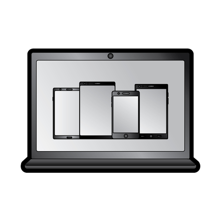 laptop computer with smartphones on screen icon image vector illustration design