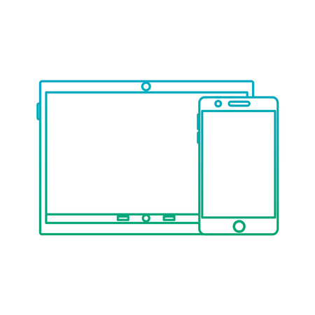 tablet and cellphone with reflective screen device icon image vector illustration design blue to green ombre