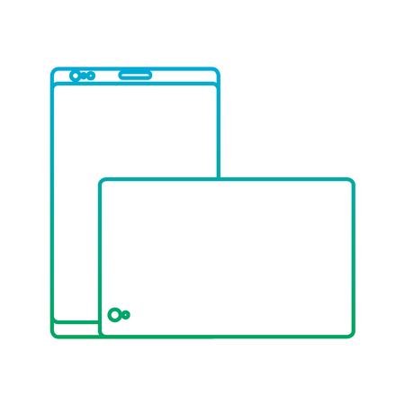 smartphone front and back with glass reflection digital device icon image vector illustration design  blue to green ombre
