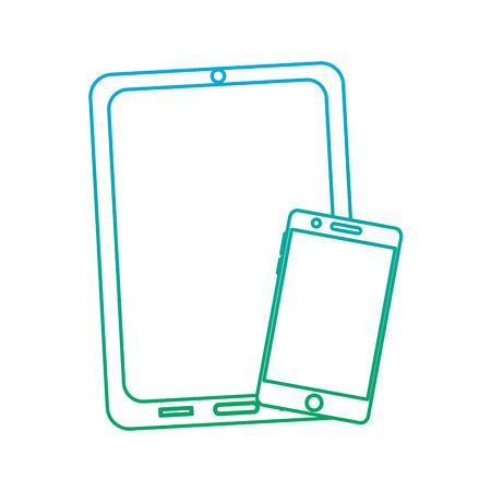 타블렛과 반사 화면 장치와 핸드폰 장치 아이콘 이미지 벡터 일러스트 디자인 파란색으로 녹색 ombre 일러스트