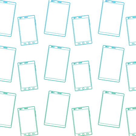 smartphone with glass reflection digital device pattern image vector illustration design  blue to green ombre