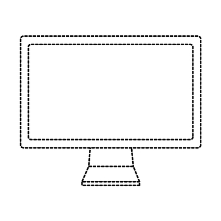 computer monitor icon image vector illustration design  black dotted line