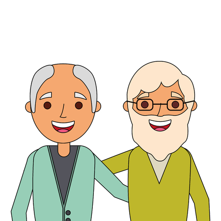 portrait smiling older men embraced characters vector illustration