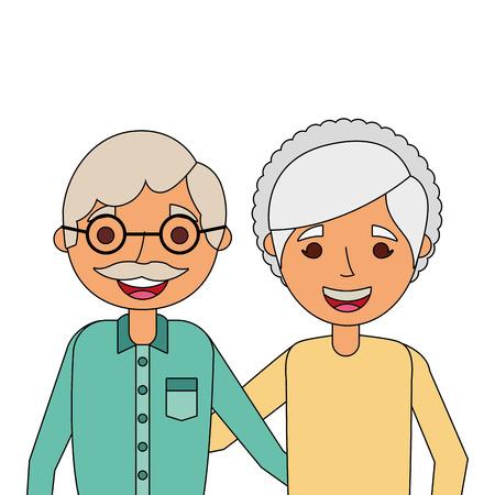 幸せな愛らしいベクトルイラストを抱きしめる高齢夫婦の肖像画  イラスト・ベクター素材