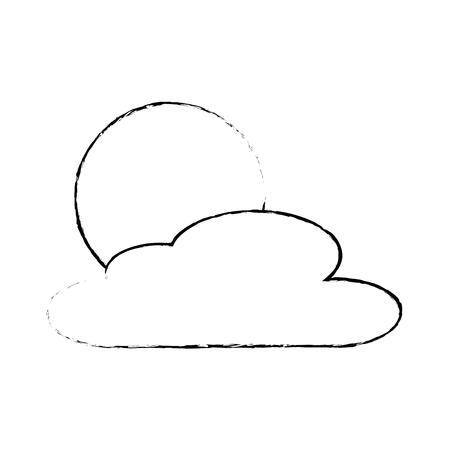 cloud sun day nature weather scene vector illustration sketch Ilustrace