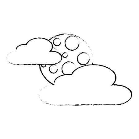 cloud moon night sky nature scene sketch vector illustration Фото со стока - 90672350