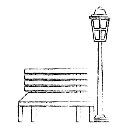 bench and lamp park decoration elements sketch vector illustration