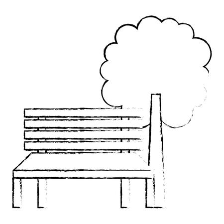 公園のベンチと木の自然風景スケッチベクトルイラスト