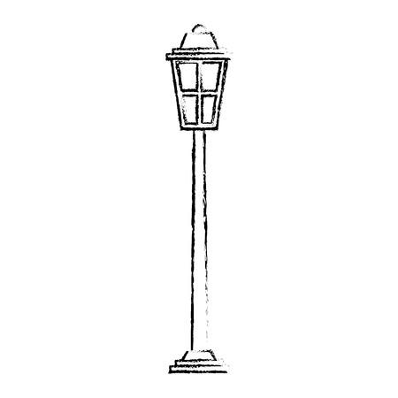 park straatlantaarn licht glas vintage decoratie schets vectorillustratie