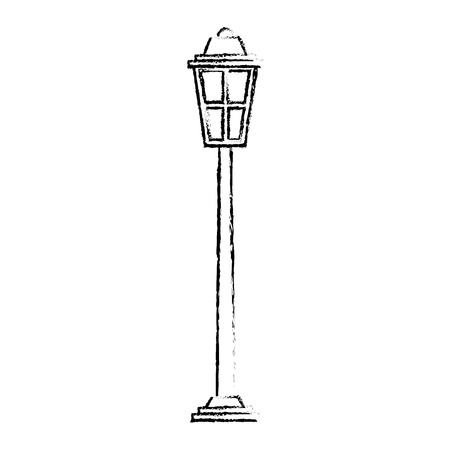 park street lamp light glass vintage decoration sketch vector illustration