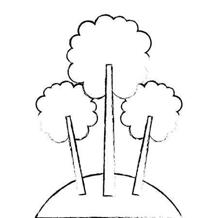 3つの木の葉森公園自然スケッチベクトルイラスト