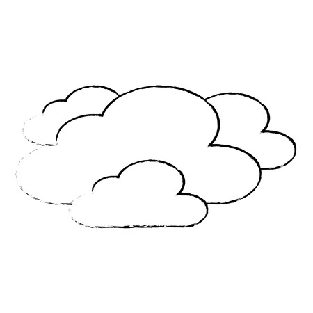 clouds weather sky night scene sketch vector illustration Çizim