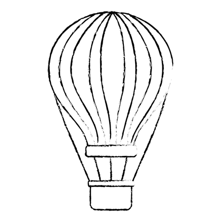 air balloon with basket recreation adventure sketch vector illustration 向量圖像