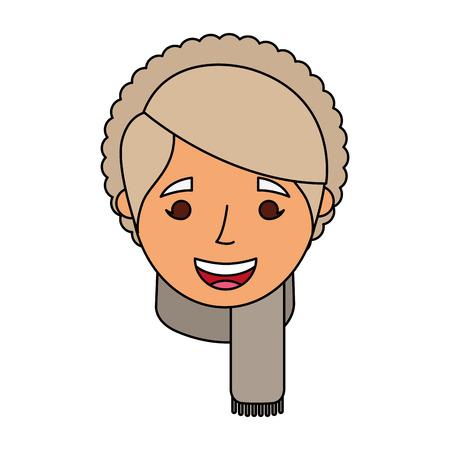 老婦人肖像女性 おばあちゃん漫画ベクトルイラスト