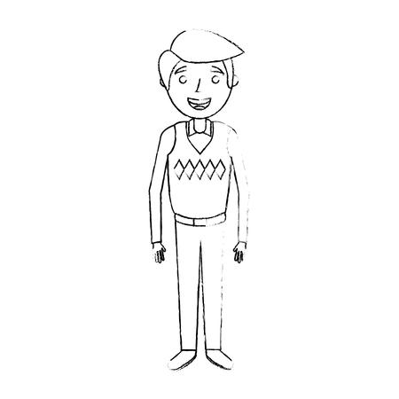 ●おじいちゃんキャラクター立ち、スケッチベクトルイラスト。