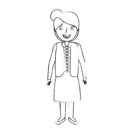 Elderly woman grandmother character happy expression, sketch vector illustration. Иллюстрация